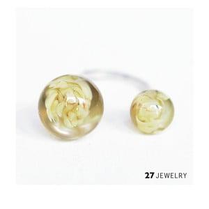 Béžový dvojitý prsten ze skla Enamor