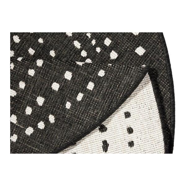 Černý kulatý oboustranný koberec Bougari Bali, ø 140 cm