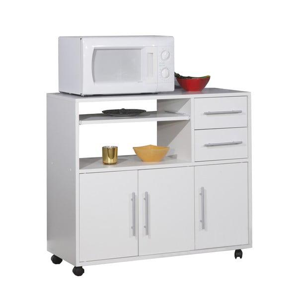 Bílý pojízdný kuchyňský úložný systém s policemi Symbiosis Marius