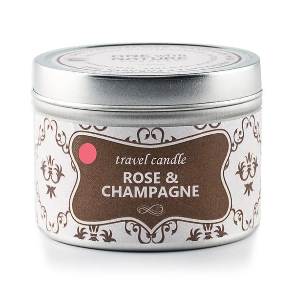 Vonná svíčka v plechovce Rose and Champagne, 25 hodin hoření