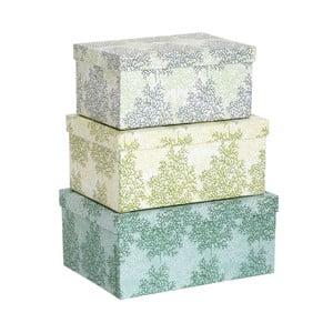 Sada tří barevných krabiček, obdélník