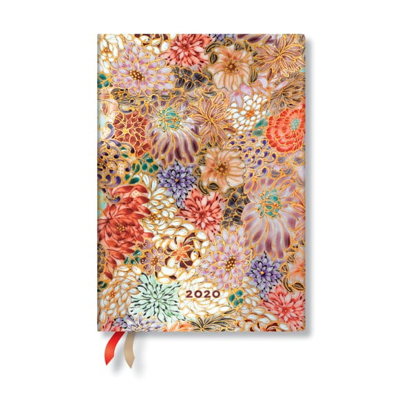 Agendă pentru anul 2020, cu copertă tare Paperblanks Kikka, 160 file, multicolor