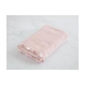 Pudrově růžový bavlněný ručník k umyvadlu Flower, 50 x 76 cm