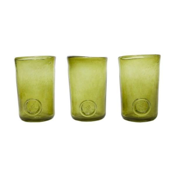 Set tří sklenic, zelená