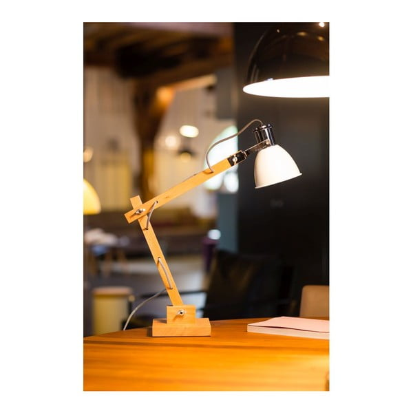 Dřevěná stolní lampa s bílým stínítkem ETH Craco