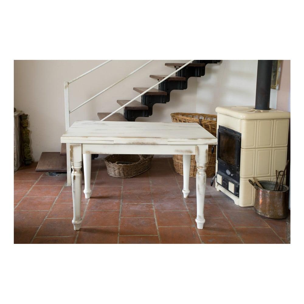 Krémový rozkládací dřevěný jídelní stůl Castagnetti Gothic