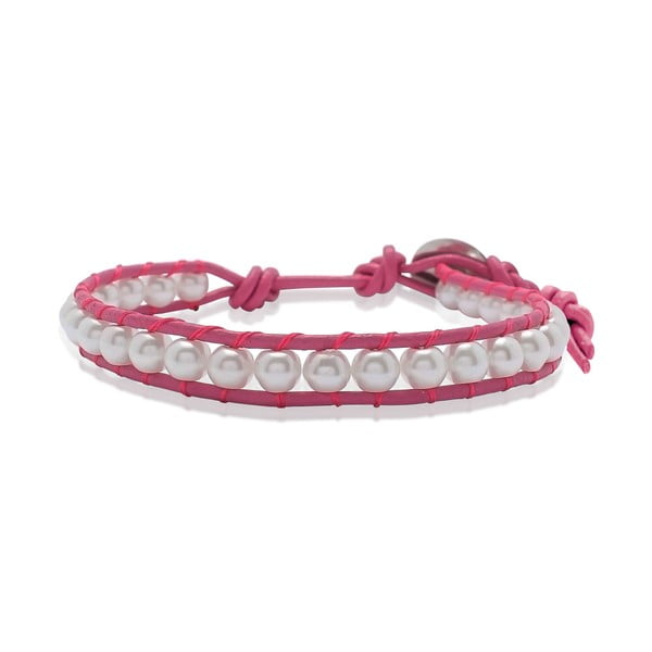 Růžový náramek z pravé kůže s perlami Lucie & Jade