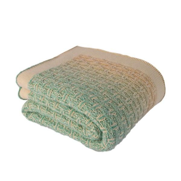 Béžovozelená deka Touta, 170x130cm