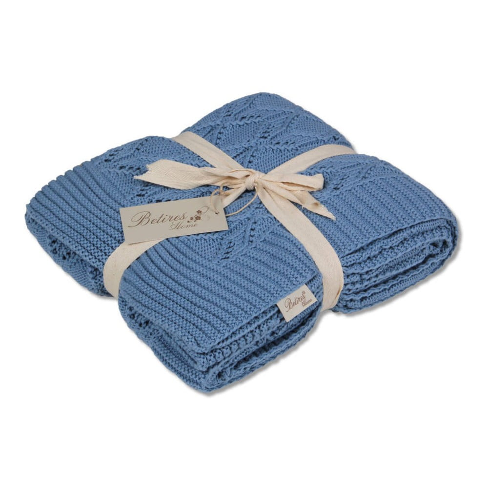 Modrá bavlněná deka Cotton
