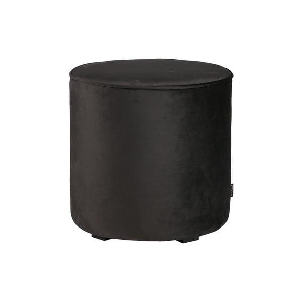 Sametově černý puf WOOOD Sara, ⌀ 46 cm