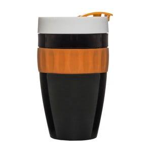 Cană termo Sagaform To Go Mug, 400 ml, negru-portocaliu