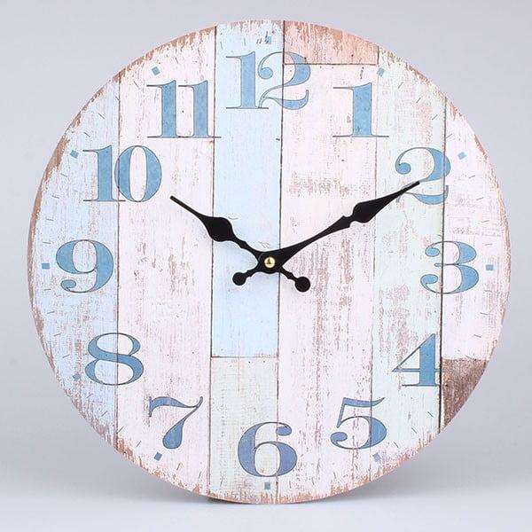 Dřevěné hodiny Blue Country, 34x34 cm