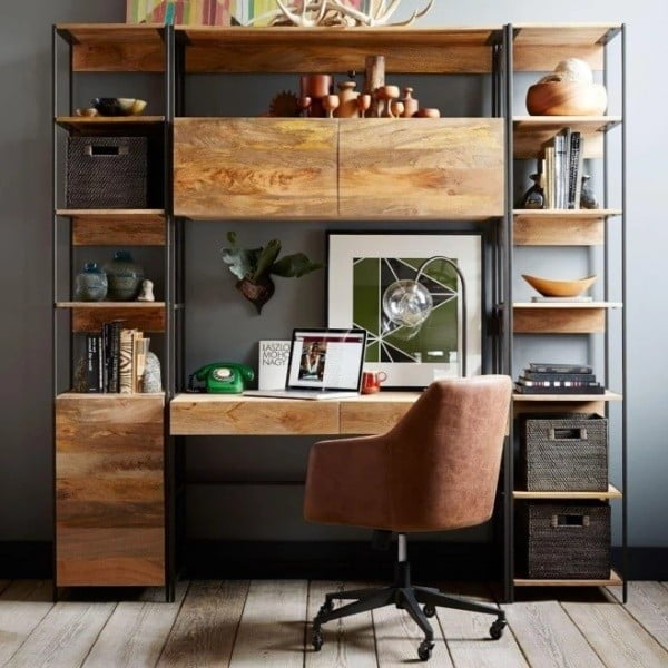 Knihovna z masivního mangového dřeva Massive Home Jenny, 45 x 213 cm