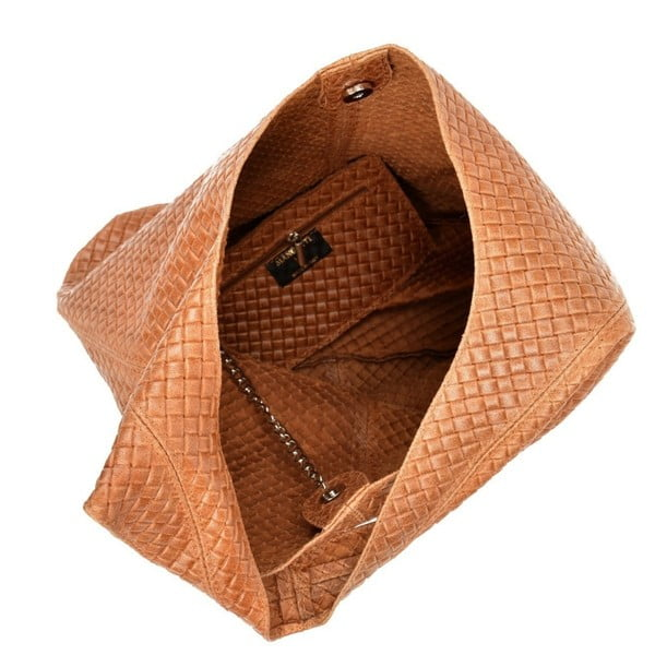 Koňakově hnědá kožená kabelka Mangotti Bags Estela