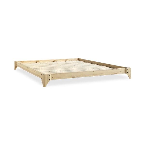 Łóżko dwuosobowe z drewna sosnowego z materacem a tatami Karup Design Elan Double Latex Natural/Black, 160x200 cm