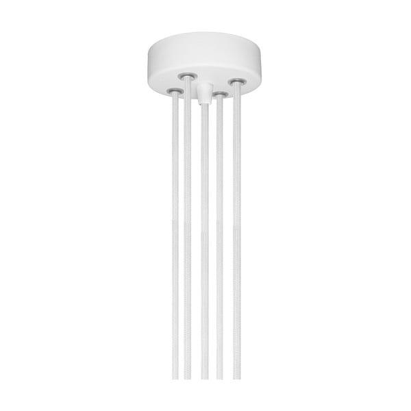 Závěsné svítidlo s 5 bílými kabely a objímkou ve stříbrné barvě Bulb Attack Uno Group