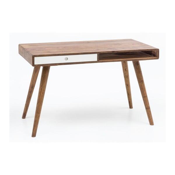 Pracovní stůl s bílou zásuvkou z masivního sheeshamového dřeva Skyport REPA, 117 x 60 cm
