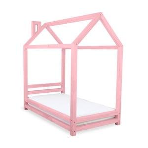 Pat pentru copii din lemn de pin Benlemi Happy, 80 x 200 cm, roz