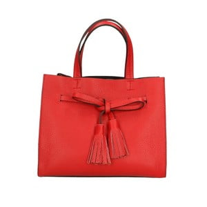 Červená kožená kabelka Roberto Buono Ines
