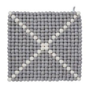 Modulový koberec Wool Mat Grey/White, 40x40 cm