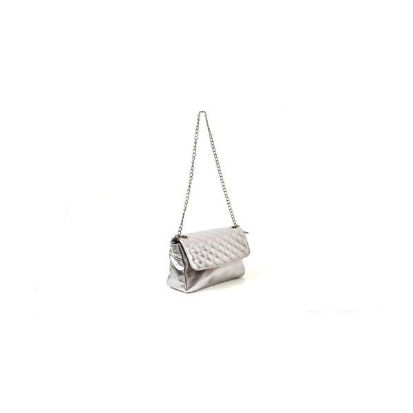 Kožená kabelka Bella, stříbrná
