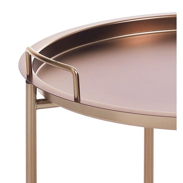 Konferenční stolek v měděné barvě s odnímatelným podnosem Tomasucci Vagna, Ø45cm