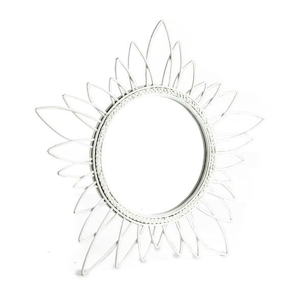 Bílé zrcadlo s bambusovým rámem Simla Natural, ⌀63 cm