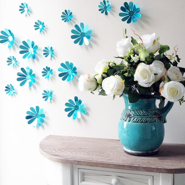 Sada 12 modrých adhezivních 3D samolepek Ambiance Flowers Chic