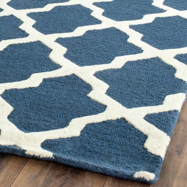Vlněný koberec Ava Navy, 91x152 cm