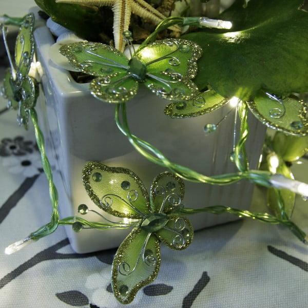 Světelný řetěz Butterflies 120 cm, zelený