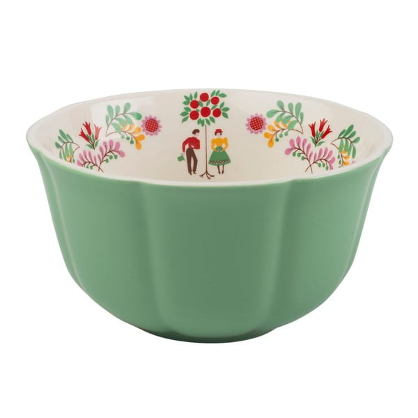 Zelená porcelánová miska na cereálie Creative Tops, ⌀14 cm
