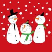 Set 10 șervețele din hârtie cu motive de Crăciun PPD Smiling Snowmen Red