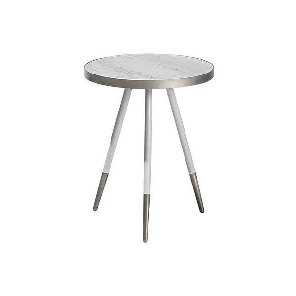 Bílý odkládací stolek s nohami ve stříbrné barvě Monobeli Hannah, ø44cm