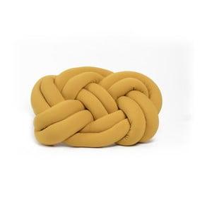 Hořčicově žlutý polštář Cloud Knot Decorative Cushion, 40 x 32 cm