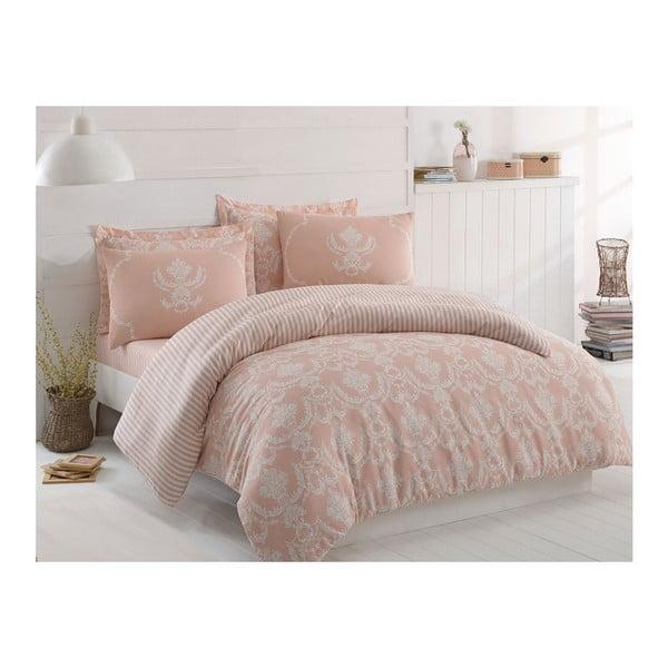 Lenjerie de pat cu cearșaf Pure Pink, 200 x 220 cm