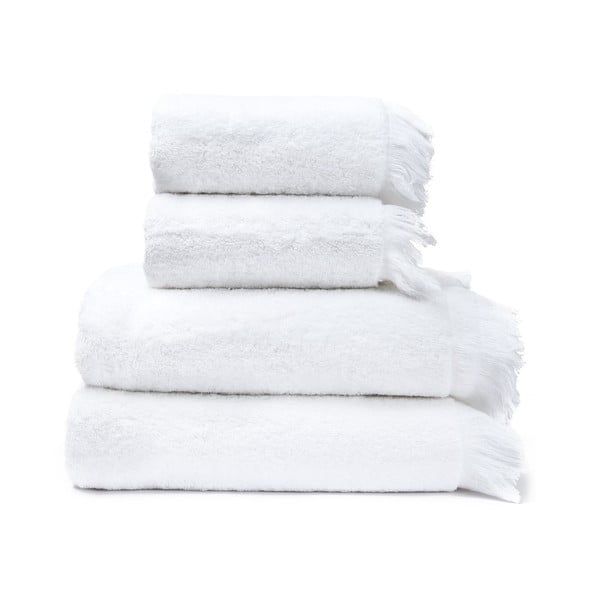 Sada 2 bílých ručníků a 2 osušek ze 100% bavlny Bonami, 50x90 + 70x140 cm