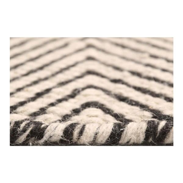 Béžový ručně tkaný koberec Kilim Chevron, 200x290cm