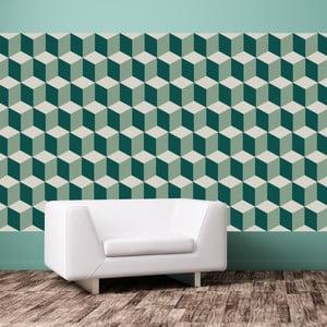 Set 12 autocolante Walplus Green 3D Cubes Wall Mural
