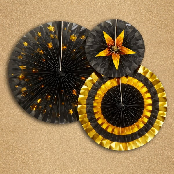 Zestaw 3 dekoracji papierowych Neviti Glitz & Glamour Goldie