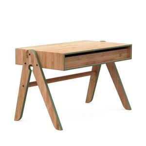 Dětský psací stůl z bambusu Moso s zelenými detaily We Do Wood Geo's