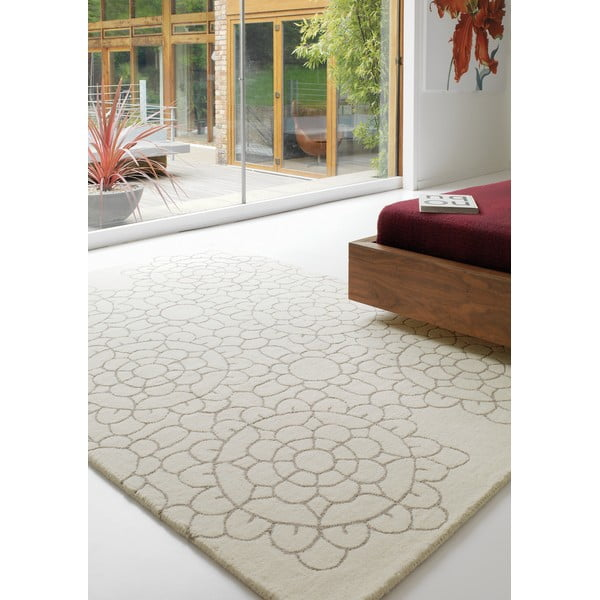 Vlněný koberec Matrix Crochet Cream, 160x230 cm