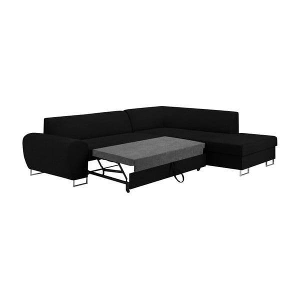 Canapea extensibilă cu spațiu pentru depozitare Kooko Home XL Right Corner Sofa, negru
