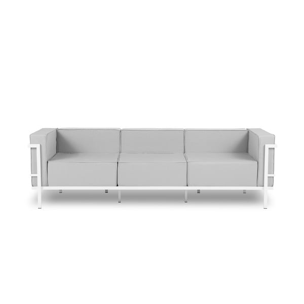 Canapea cu 3 locuri adecvată pentru exterior Calme Jardin Cannes, gri - alb