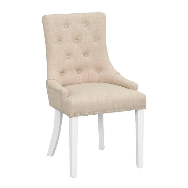 Béžová polstrovaná jedálenská stolička s bielymi nohami Rowico Vicky