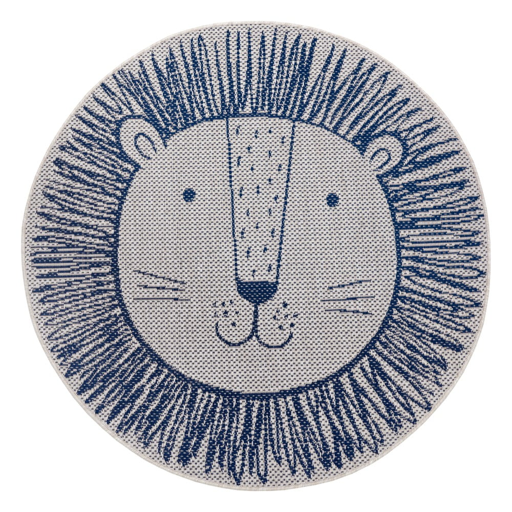 Modrý dětský koberec Ragami Lion, ø 160 cm