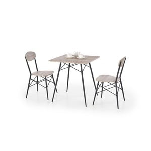 Set stolku a 2 židlí v dekoru dubového dřeva Halmar Kabir