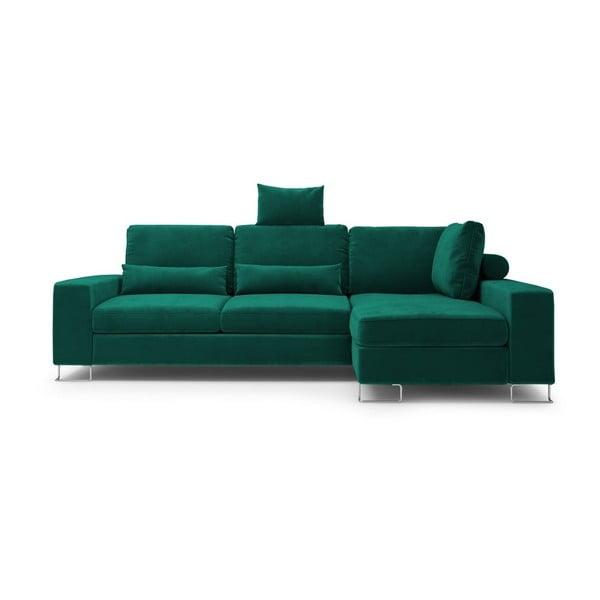 Tmavozelená rozkladacia rohová pohovka so zamatovým poťahom Windsor & Co Sofas Diane, pravý roh
