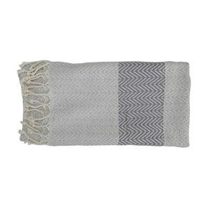 Šedá ručně tkaná osuška z prémiové bavlny Homemania Damla Hammam,100x180 cm