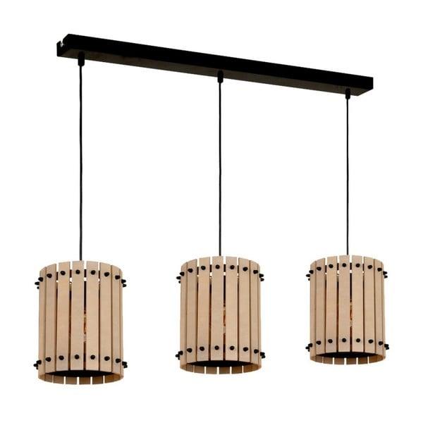 Czarna lampa wisząca z drewnianymi detalami Egon Tres