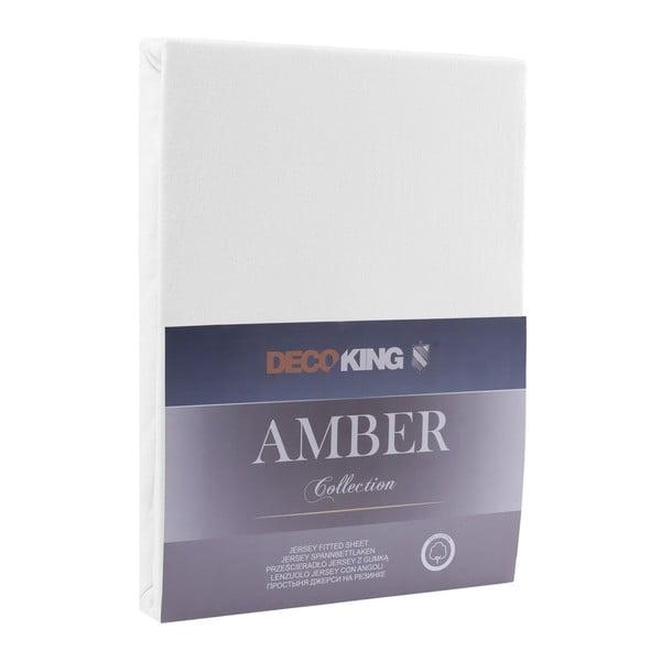 Bílé elastické prostěradlo DecoKing Amber Collection, 160-180 x 200 cm